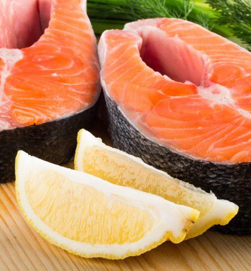 Salmon Steaks with lemon